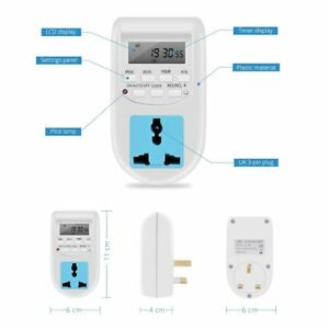 220V Electric LCD Digital Timer Socket Outlet Switch Energy Saving UK Plug KBB
