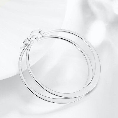 Ladies 925 Sterling Silver Tarnish-Free 55mm Large Thin Endless Hoop Earrings