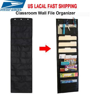 10 Pocket Hanging Files Office Letter Size Wall Mount Holder Storage Organizer