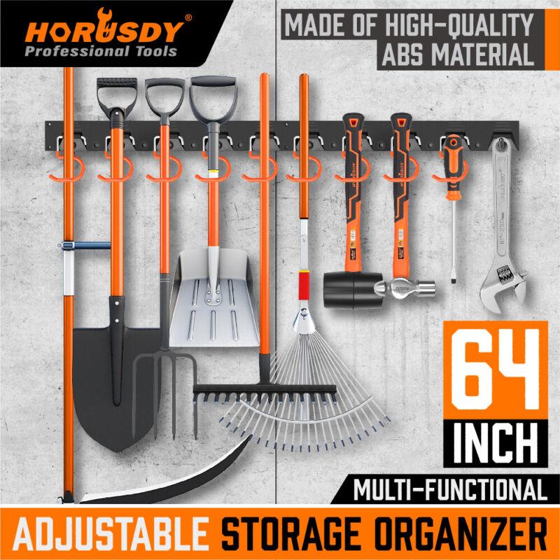 64 Inch Garage Tool Organizer Wall Mount Hooks Adjustable Storage Holders Garden