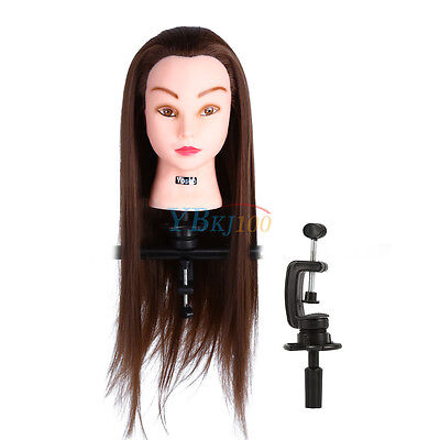 24 inch 30% Real Human Hair Hairdressing Training Head Mannequin Doll Free Clamp