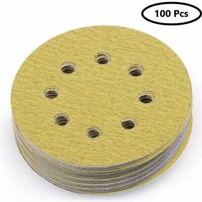 100pcs 5 Inch 8 Hole 80 Grit Dustless Hook-and-loop Sanding Disc Sander Paper