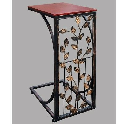 Bar Height Side Table - Leaf Side Shaped Wood Top Snack Drink Bar Sofa Couch Side End Table