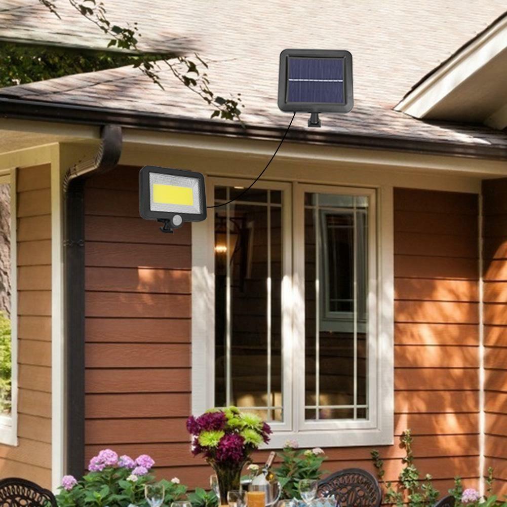 100 LED Solarleuchte mit Bewegungsmelder Solarstrahler Außenleuchte Gartenlampe