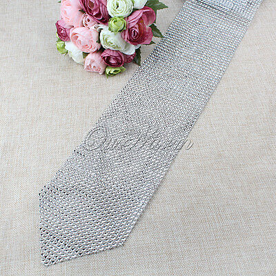 Diamond Mesh Table Runner Crystal Rhinestone Ribbon Bling Sparkly Wrap Wedding  (Rhinestone Mesh Runner)