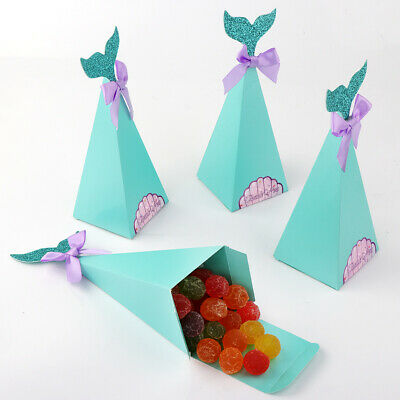 50×Mermaid Candy Boxes Little Mermaid Party Supplies Theme Mermaid DIY Gift Box