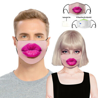 Fashion Kiss Lip Print Reusable & Washable Cotton Mask Face Cover +1pc Filter Mg Accessories