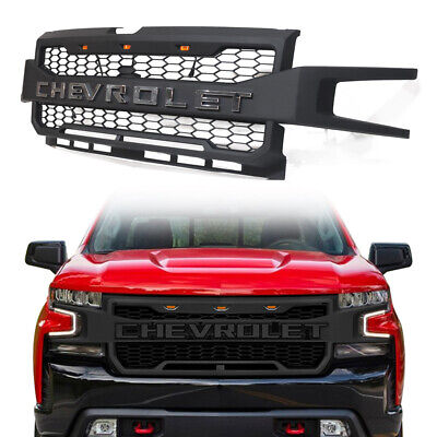 Front Black Grille For Chevrolet Silverado 1500 2019 2020 With 3 LED Lights US