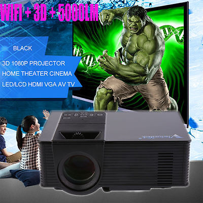 wifi 5000Lumens HD 1080P Home Theater Projector 3D LED Portable HDMI VGA USB VIP