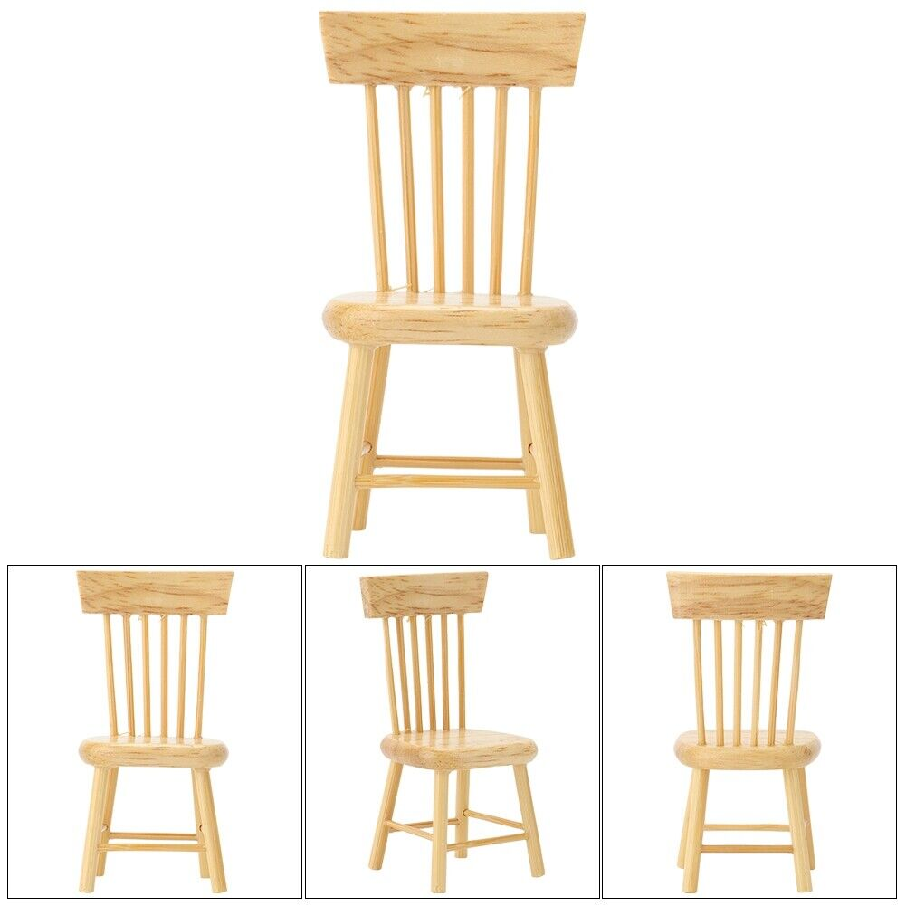 1:12 Dollhouse Miniature Doll Furniture Chic White Wooden Dining Chair Stool ~