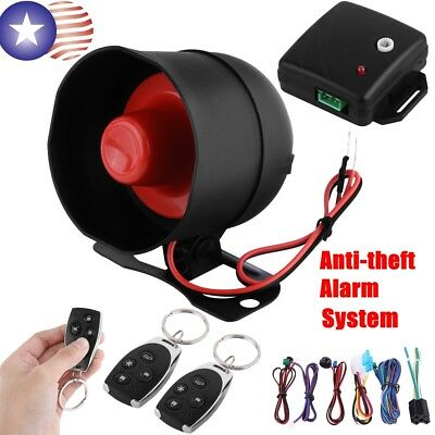 Car Vehicle Auto Burglar Alarm Keyless Entry Security System with 2 Remote USPS