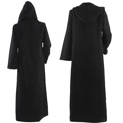 Star Wars Jedi Black Tunic Monk Priest Grim Reaper Hooded Robe Cloak Costume - Black Monk Robe