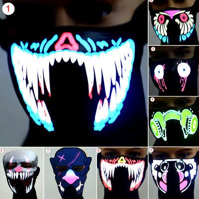 LED Luminous Flashing Face Mask Party Masks Light Up Dance Halloween Cosplay (Dance Party Halloween)