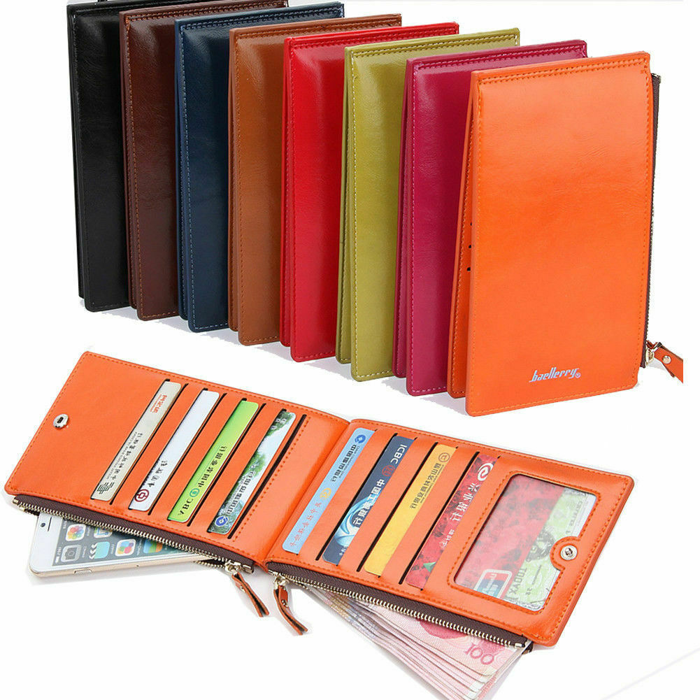Women Bifold Leather Credit Card Holder Long Double Zipper Purse Clutch Wallet Clothing, Shoes & Accessories