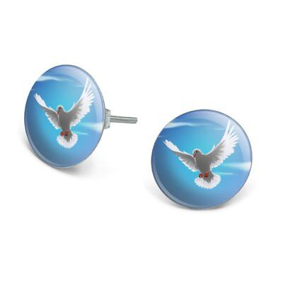 Dove Bird Flying In the Sky Novelty Silver Plated Stud Earrings