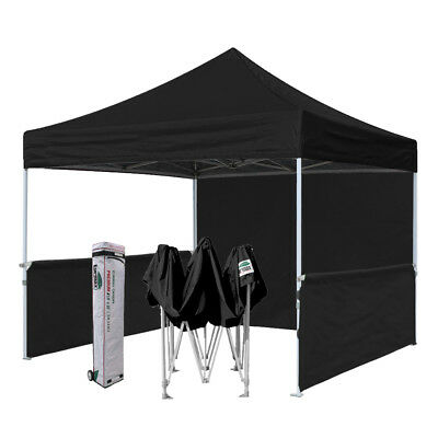 Black 10x10 Outdoor Ez Pop Up Canopy Commercial Vendor Fair Show Booth Tent