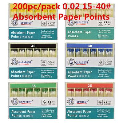 200pc Gapadendt Endo Fiber Dental Paper Points Root Absorbent 0.02 15-40 Canal