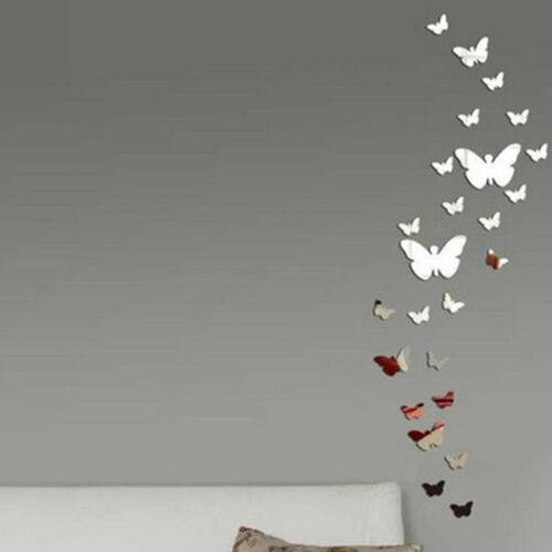 Butterfly Mirror Wall Decoration : Pcs diy d silver acrylic butterfly mirror wall sticker