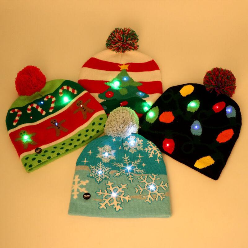 Christmas Beanie Light Up Hat Knit Crochet LED Light Hat Xmas Cap for Adult Kids