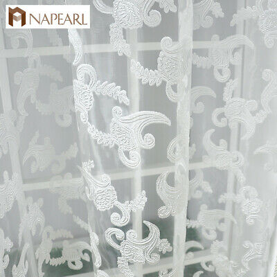 NAPEARL 1 Panel Cheap Living Room Curtains Floral Jacquard Sheer Tulle Drapes - Cheap Tulle
