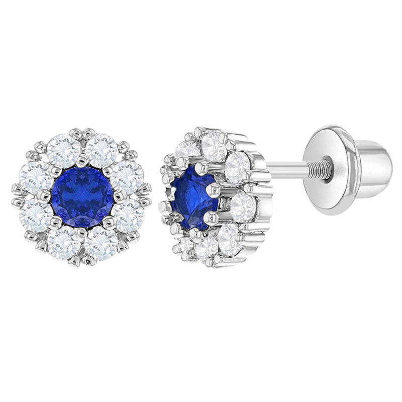 Rhodium Plated Navy Blue & Clear CZ Flower Screw Back Earrings for Young Girls