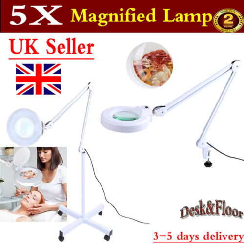 Salon Makeup Desk Floor Magnifier Lamp Light 5x Skincare Beauty Tattoo White 22w