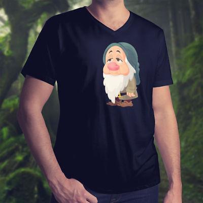 Snow White and the Seven Dwarfs Sleepy Disney Mens Unisex V-Neck Top Tee T-Shirt