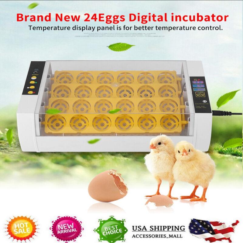24Eggs Automatic Egg Incubator Turner Chicken Duck Quail Goose Hatcher Heater US