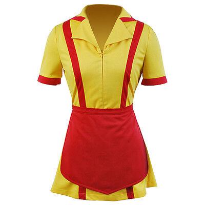 2 Broke Girls Max Caroline Apron Maid Dress Waitress Uniform Cosplay Costume