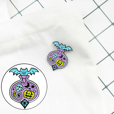 Cartoon Bat Pumpkin Cart Enamel Brooch Pin Denim Badge Halloween Decor Clever