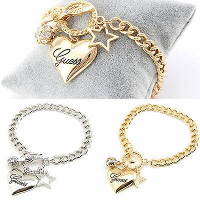 Bracelet - Fashion Silver Women Jewelry Crystal Cuff Charm Bangle Chain Pendant Bracelet