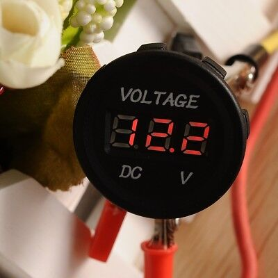 Hs 12v Waterproof Red Led Dc Digital Display Voltmeter Meter For Car Motor
