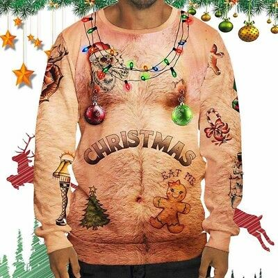 Mens Womens Funny Nude 3D Print Ugly Christmas Sweatshirts Pullover Xmas Sweater
