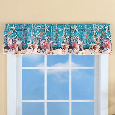 Seashells Window Windows - Nautical Starfish Seashell Window Valance Coastal Sand Shells Net Window Valance