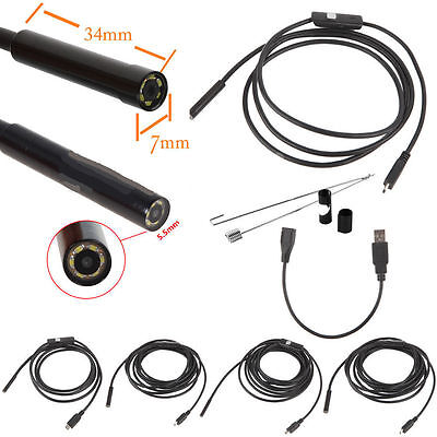 2/5/7/10/15m&5.5/7mm USB Waterproof Endoscope Borescope Snake Inspection CameOE