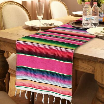 Mexican Serape Table Runner Fringe Cotton Tablecloth Fiesta Party Birthday Decor](Serape Tablecloth)