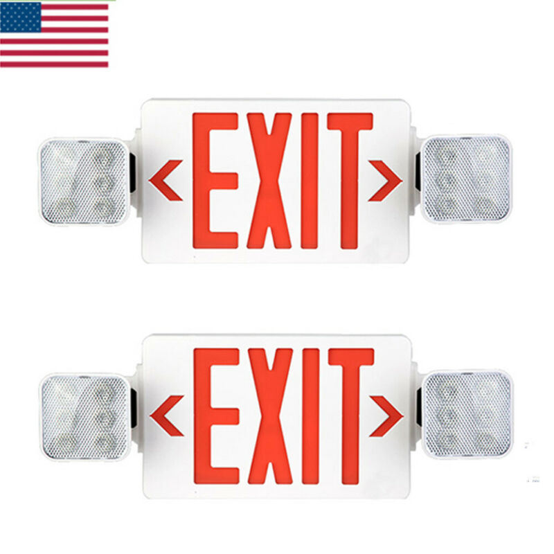 2 Pack LED Exit Sign Emergency Light–Hi Output Compact Combo UL listed (red)