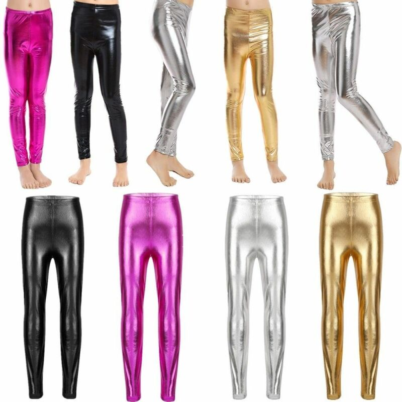 1511f7aadcb Kid Girl Shiny Metallic Pants Gymnastic Dance Skinny Leggings Stretchy  TrousersUSD 1.35
