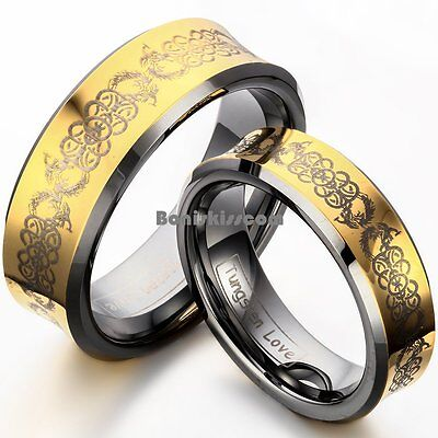 Concave Gold Tone Celtic Design Comfort Fit Tungsten Carbide Ring Wedding -
