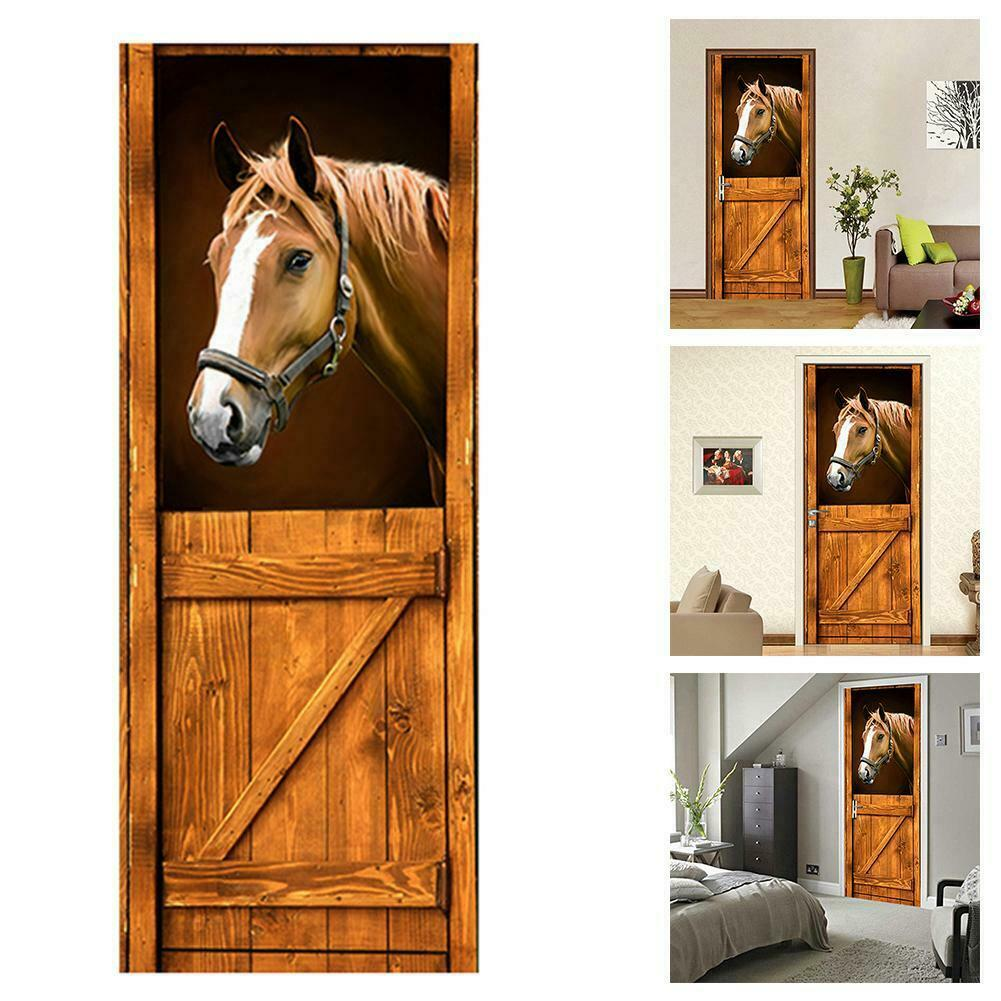 Home Decoration - 3D Door Wall Sticker Horse House PVC Self-Adhesive Removable Art Home Decor AU