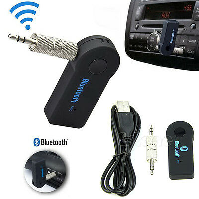 Wireless Car Bluetooth 3.5mm Stereo Audio Music MP3 Receiver A2DP For Phone iPod