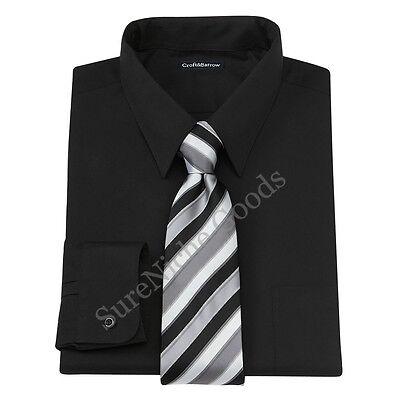 New Croft & Barrow Men's Black Point-Collar Dress Shirt Tie Box Set 2XB MSRP (Black Dress Shirt Tie)