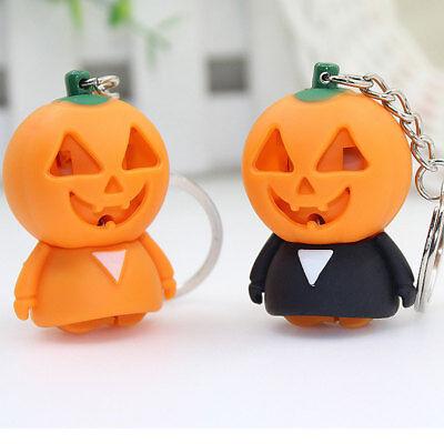 Halloween Pumpkin Ghost LED Sound Car Keychain Keyring Holder Bag Pendant Gift (Cars Halloween Bag)
