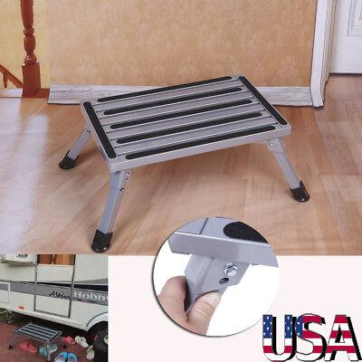 Portable Folding Aluminium Platform Safety Step Ladder Stool Non-slip Surface (Portable Platform)
