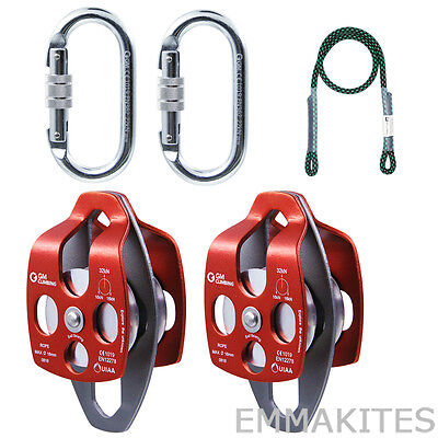 32kk Block And Tackle Pulley System Kit With Prusik For Tree Climbing Arborist