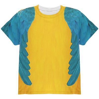 Halloween Blue & Yellow Parrot Macaw Costume All Over Youth T - Blue Macaw Halloween Costumes