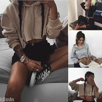 New Women Long Sleeve Hoodie Loose Pullover Sweatshirt Jumper Workout Crop Tops