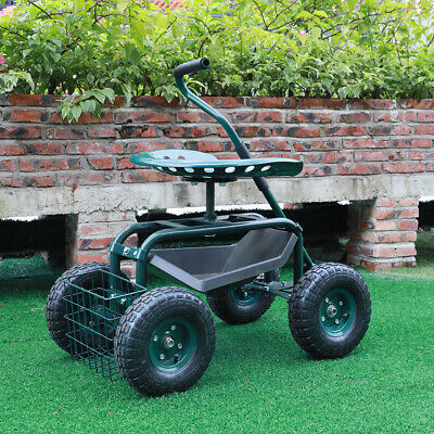 Rolling Garden Cart Work Seat Yard Planting Seating Carriage Trolley with Basket
