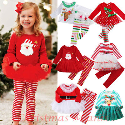 USA Christmas Toddler Kid Baby Girl Xmas Santa Party Tutu Dress Outfits Clothes