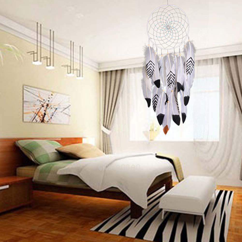 Creative Dream Catcher Circular White Feather Wall Hanging Decoration Decor Gift